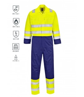 Two-Tone Flame Retardant Anti-Static HiVis Coverall - HiVis Yellow/Navy