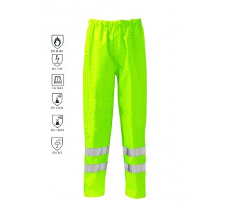 FR/AS HI VIS Water Resistant Over Trouser - Yellow