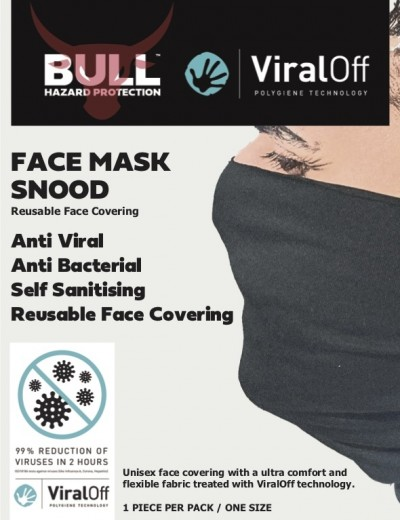 Bull ViralOff Anti Viral Anti Bacterial Snood Face Covering | Black