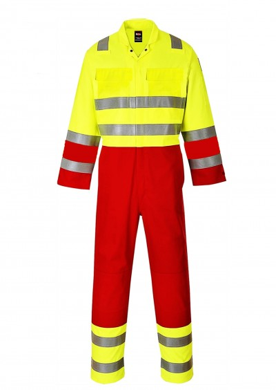 Two-Tone Flame Retardant Anti-Static HiVis Coverall - HiVis Yellow/Red
