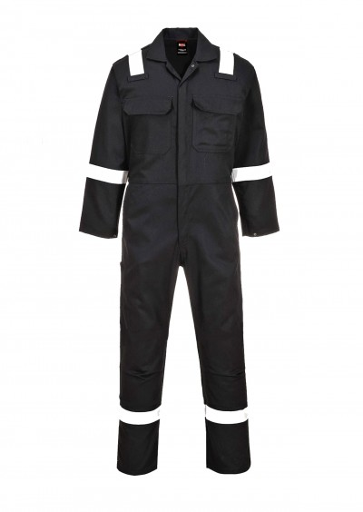 Flame Retardant Anti-static Hi Vis Coverall - Black
