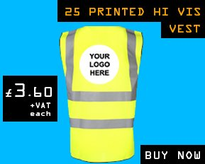 Add your logo or company name to hi vis vest.
