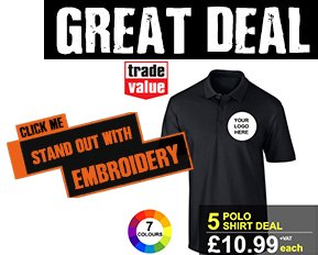 5 pack embroidered polo shirts deal